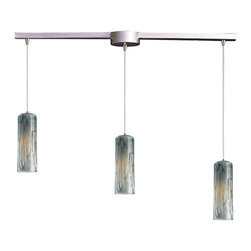 Elk Lighting - Maple Linear 3-Light Pendant in Satin Nickel and Maple Dusk - Individuality is what defines this exquisite line of hand blown glass. Each piece is meticulously hand blown with up to three layers of uncompromising beauty and style.