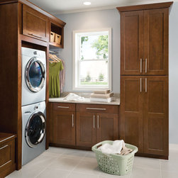 Mission Cherry Chocolate - Lowe's, cbainets, kitchen, mud room, laundry, Shenandoah Cabinetry