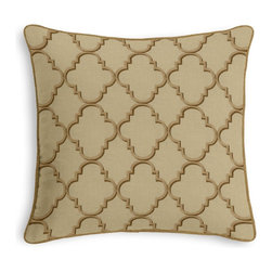 Gold & Tan Embroidered Quatrefoil Corded Pillow - Black and white photos, Louis XIV chairs, crown molding: classic is always classy. So it is with this long-time decorator's favorite: the Corded Throw Pillow.  We love it in this classic quatrefoil trellis embroidered in silver on palest gray linen-like ground. every room can use a little glitz and glamour!