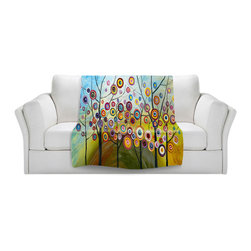 DiaNoche Designs - Throw Blanket Fleece - Abstract Blossom II - Original artwork printed to an ultra soft fleece blanket for a unique look and feel of your living room couch or bedroom space. Dianoche Designs uses images from artists all over the world to create Illuminated art, canvas art, sheets, pillows, duvets, blankets and many other items that you can print to. Every purchase supports an artist!