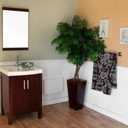 Bellaterrra - Bellaterra 804381 23.8 In Single Sink Vanity-Dark Walnut-Wood - 24x18.5x36 in. - Bellaterra 804381 23.8 In Single Sink Vanity-Dark Walnut-Wood - 24x18.5x36 in.