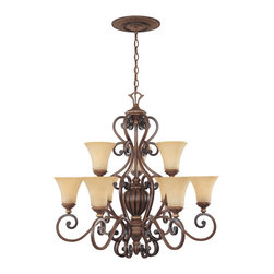 Designers Fountain - Designers Fountain Montreaux Traditional Chandelier X-GWB-98518 - Beautiful, intricate scrollwork has been accentuated by a rich toned Burnished Walnut finish complete with gold accenting for added flair and visual interest. From the Montreaux Collection, this Designers Fountain chandelier also features two tiers of lights housed in beautiful navajo dust glass shades that add warmth to the design.