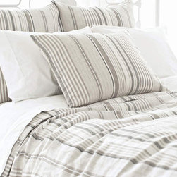 Pine Cone Hill - Pine Cone Hill Gradation Linen Duvet & Shams, Neutral, King - Made in the shades of slate, dune, ivory, and sand, the Pine Cone Hill Gradation linen duvet brings neutral to the next level.