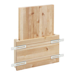 "Rev-A-Shelf - Rev-A-Shelf 4DMCB-15 Door Mount Cutting Board - Everyone who works in the kitchen will agree that storing and stacking all items is a challenge. In this case, you can conveniently store your wood cutting board in a space that was not previously used. This cutting board can be attached inside the door of your kitchen cabinet, and the best part is that it doesn't require much space. The rack, which acts as a holding stand, also includes a wood cutting board. The wood rack itself is treated with a UV-cured clear coat finish. The maple hardwood cutting board is mineral oil treated and comes with a limited lifetime warranty. Just install this rack with four simple screws and create a home for your cutting board in minutes. The Rev-A-Shelf 4DMCB-15 Door Mounted Cutting Board tucks neatly away yet is easily accessible at the same time. Physical specifications of Mounting Rack: 10-1/2"" W x 2-7/8"" D x 8"" H. Physical specifications of Cutting Board: 7-3/4"" W x 1-1/4"" D x 16"" H. Minimum Cabinet Opening Required: 10-7/8"" W x 2-7/8"" D x 16-7/8"" H."