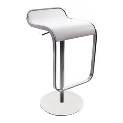 LaPalma - Lem Piston Barstool White Leather - Our authentic Lem stool is designed by Shin and Tomoko Azumi, and Made in Italy by LaPalma. The popular LEM piston stool effortlessly blends sculptured form with convenient swivel and height adjustable functions. Its highly original shape offers an uncluttered atmosphere when several stools are grouped together.