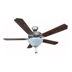 "Builders Collection - Satin Nickel 52"" Ceiling Fan w/ Light Kit - Motor Finish: Satin Nickel"