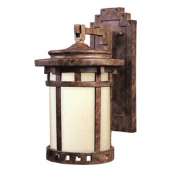 Santa Barbara EE-Outdoor Wall Mount - Santa Barbara EE is a traditional, craftsman/mission style, energy saving collection from Maxim Lighting International in Sienna finish with Mocha glass.