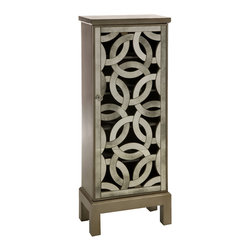 iMax - Lorella Mirror Front Cabinet - Inspired by the New York Central Park bridge, the elegant antiqued mirror is crafted in a continuous elliptical pattern and the open face is reminiscent of art Deco styling.