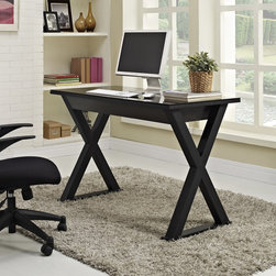 None - 48 in. Black Glass Metal Computer Desk - Constructed of thick, tempered safety glass and steel frame create a sturdy, stylish work space. Features a large storage drawer to maintain a neat appearance. The classic, x-frame leg design and sleek finish are sure to please.