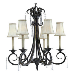 Progress Lighting - Progress Lighting P4154 Veranda Six-Light Single-Tier Mini Candelabra Chandelier - In the Veranda collection, a rich Espresso finish highlights graceful curves, acanthus leaves and faux rock crystal drops for refined fixtures that make a grand statement. When lit, the subtle colors of Venetian marble glass cast a romantic glow, and the delicate detailing of the glass.Features: