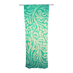 """Kess InHouse - Caleb Troy """"Teal Spring Paisley"""" Decorative Sheer Curtain - Let the light in with these sheer artistic curtains. Showcase your style with thousands of pieces of art to choose from. Spruce up your living room, bedroom, dining room, or even use as a room divider. These polyester sheer curtains are 30"""" x 84"""" and sold individually for mixing & matching of styles. Brighten your indoor decor with these transparent accent curtains."""