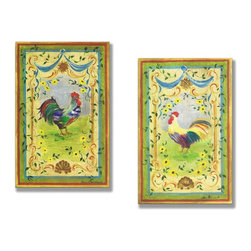 Stupell Industries - Colorful Rainbow Rooster Kitchen Wall Set - Made in USA. Ready for Hanging. Hand Finished and Original Artwork. No Assembly Required. 17 in L x 0.5 in W x 22 in H (5 lbs.)What better way to add class to your home than with a wall plaque from the Stupell Home Decor Collection? Made in the USA and featuring original artwork,you are sure to find the perfect match for wherever you are looking to design. Each plaque comes mounted on sturdy half inch thick mdf and features hand painted edges.  It also comes with a sawtooth hanger on the back for instant use.