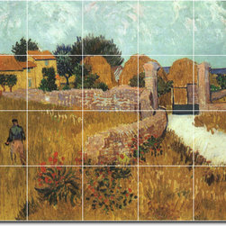 Picture-Tiles, LLC - Farmhouse In Provence Tile Mural By Vincent Van Gogh - * MURAL SIZE: 32x40 inch tile mural using (20) 8x8 ceramic tiles-satin finish.