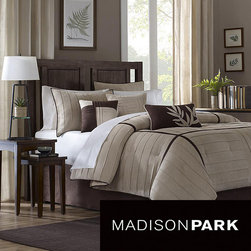 Madison Park - Madison Park Dune Beige/Brown 7-piece Contemporary Comforter Set - Give bedroom décor a boost with this contemporary Madison Park comforter set. This seven-piece set includes a comforter, bedskirt, two shams and three decorative pillows all crafted of 100-percent polyester to ensure long-lasting durability.