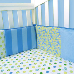 """Trend Lab - Dr. Seuss Blue Oh, The Places You'll Go! - Crib Bumpers - Trend Lab's Dr. Seuss Blue Oh, the Places You'll Go! Crib Bumpers feature patches of a cute swirl, charming dot and bold stripe print mixed with soft blue velour. The swirl and dot print feature a charming color palette of a cornflower and powder blue, grass green, key lime and soft yellow. Cornflower blue piping and ties add the finishing touch. Bumpers consist of two long and two short pieces measuring 10"""" tall. Matching Dr. Seuss Blue Oh, the Places You'll Go! 3 Piece Crib Bedding Set sold separately. Complete your child's room with coordinating accessories from the Dr. Seuss Blue Oh, the Places You'll Go! collection by Trend Lab. Product sold under license from Dr. Seuss Enterprises, L.P."""