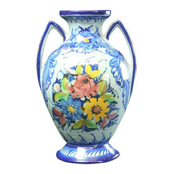 Alcobaca - Consigned Vintage Portuguese Majolica 2-Handled Vase - Product Details