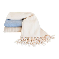 Nantucket Looms - Nantucket Looms Handwoven Cashmere & Silk Throw - Drape our Handwoven Cashmere and Silk Throw across your lap as you relax by the fire, or watch the moonrise over the harbor. Handwoven in the finest tradition from luxurious cashmere and silk, this heirloom-quality Nantucket Looms classic is finished with a hand-twisted fringe, and makes an ideal wedding or housewarming gift.