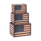 Benzara - Wood Leather Box with Us Flag Colors - Set of 3 - If you are left with small space in your room and you want to use this space purposely, have a look over 72196 WOOD LEATHER BOX S/3 a set of three boxes. Get this amazing art and flaunt your interior decor in style.