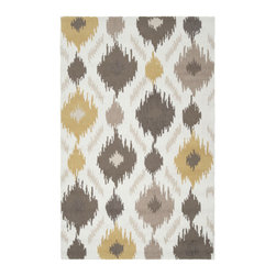 Sunspot Rug - Give a neutral space just a hint of hot color with this playful, chic rug. It's hand-hooked with a trendy ikat pattern that's sure to catch your eyes - and heart.