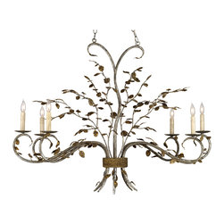 Currey & Co - Currey & Co 9021 Raintree Viejo Gold 6 Light Chandelier - 6 Bulbs, Bulb Type: 60 Watt Candelabra; Weight: 18lbs