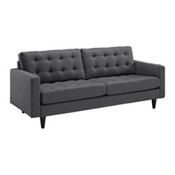 "LexMod - Empress Upholstered Sofa in Gray - Empress Upholstered Sofa in Gray - End the rule of unjust sovereignties that wage a useless war for your interiors. Empress leaves the would be heiress of holistic furnishings in the dust, with a design that rivals any competitor. Empress is heralded with deeply tufted buttons, plush cushions and armrests that convey that perfect air of nobility. The solid wood legs come with plastic glides to prevent floor scratching, and the fine fabric upholstery leaves the recipients feeling richly rewarded. Set Includes: One - Empress Upholstered Sofa Modern Sofa, Deeply tufted buttons, Polyester upholstery, Solid wooden legs, Glides to prevent scratching Overall Product Dimensions: 35.5""L x 84.5""W x 34.5""H Seat Dimensions: 23""L x 75""W x 19""H Armrest Dimensions: 4.5""W x 6.5""HBACKrest Height: 18.5""H Cushion Thickness: 6""H - Mid Century Modern Furniture."