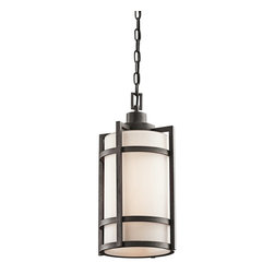 BUILDER - BUILDER Camden Lodge/Country/Rustic/Garden Fluorescent Outdoor Hanging Light X-L - The contrasting tones of this Kichler Lighting outdoor hanging light are a perfect compliment to the unique blend of mission and contemporary styling. From the Camden Collection, it features a soft opal etched glass shade and coordinating Anvil Iron finish that pulls the look together.