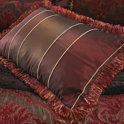 """Isabella Collection - Striped Boudoir Pillow 14"""" x 20"""" - Isabella CollectionStriped Boudoir Pillow 14"""" x 20""""DetailsMade of polyester.Feather/down insert.Dry clean.Zipper closure.14"""" x 20"""" with 2"""" fringe.Made in the USA of imported material."""