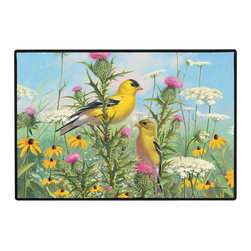 365-Goldfinches Doormat - 100% Polyester face, permanently dye printed & fade resistant, nonskid rubber backing, durable polypropylene web trim on the porch or near your back entrance to the house with indoor and outdoor compatible rugs that stand up to heavy use and weather effects