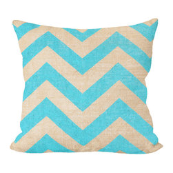 """Fiber and Water - Teal Chevron Pillow - No Pillow Insert. Cover Only - Teal Chevron pillow, add a little POP to your sofa. This hand-printed piece of art has beautiful texture from a combination of natural burlap and water-based paints. Dimensions: 19""""x19"""". Front: 100% Sultana Burlap w/ Hand-Pressed Print in Teal. Back: 100% Natural Duck Cloth Canvas. French Seams & Surged Edges. Aluminum Hidden Zipper. Spot-Clean Only. As always, Made in Maine."""