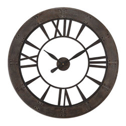 Uttermost - Ronan Dark Rustic Bronze Wall Clock - - Uttermost's clocks combine premium quality materials with unique high-style design  - Dark, rustic bronze finish accented with a rust gray frame. Quartz movement Uttermost - 06085