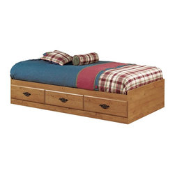 South Shore - Roslindale Country Pine Storage Twin Bed - Storage drawers are conveniently placed beneath the frame to add organizational elements to the bed's construction. You can select this elegant Roslindale twin bed with the option of a night table and a headboard. Original and matchless. The twin bed frame features under bed drawers for your child�۪s storage needs. This is the perfect bed for the child who is growing up quickly. * Features 3 practical drawers (all on the same side). Reversible: the headboard can be attached to either end, so the drawers can be accessed from either side. Manufactured from eco-friendly, EPP-compliant laminated particle boardcarrying the Forest Stewardship Council (FSC) certification. Constructed of particleboard with a Country Pine finish. Sintec Drawer glides. Assembly required. 5-year manufacturer's limited warranty. Mattress and bedding not included. 41 in. W X 76 in. L X 14 in. H