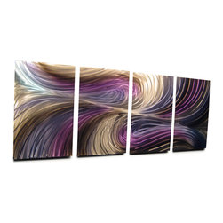 Miles Shay - Metal Wall Art Decor Abstract Contemporary Modern Sculpture- Echo Purple Blue - This Abstract Metal Wall Art & Sculpture captures the interplay of the highlights and shadows and creates a new three dimensional sense of movement as your view it from different angles.