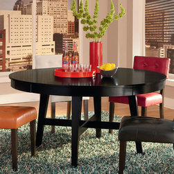 "Standard Furniture - Standard Furniture Bryant 60 Inch Round Dining Table in Black - Bryant Dining recreates the cool character of progressive 60's Modern style, updated for the way we live today.  - 17506.  Product features: Retro design elements include x-stretchers on table bases, square tapering splayed legs, a bow front sideboard and chairs with curved oval back rests; Tops feature hidden keeping drawers in their apron rails; Regular or counter height Arm and Side Chairs have the classic modern ""Ant Chair"" profile, with their bentwood oval back rests that are ergonomically curved for a comfortable fit; Slip seat chair cushions have welt trim and are upholstered in a neutral taupe color poly-cotton blend fabric; The bow front Sideboard has a platform base with tall splayed legs. It offers lots of storage on adjustable shelves behind four doors and within a drawer with removable felt lining; Drawers feature English dovetails, stained interiors, and full extension metal side guides; Bryant is constructed of quartered cherry veneers over sustainable rubberwood solids, and is finished in a subtle black stain that highlights the wood grain; Cast metal hardware is a sleek modern bar pull finished in a polished nickel color; Surfaces clean easily with a soft cloth; Surfaces clean easily with a soft cloth. Product includes: Dining Table (1). 60 Inch Round Dining Table in Black belongs to Bryant Collection by Standard Furniture."