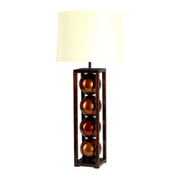 """Stephanie Nichols Studio - Janus Table Lamp, Copper - The Janus Table Lamp is a mahogany base and frame with brilliantly glazed ceramic spheres.   The lamp is fitted with a dark bronze 3 way rotary turn knob and harp, all parts UL approved. It is rated a maximum 250w/250v. However we recommend using a 3 way bulb or single 60w (bulbs not included). Comes with a hardback linen shade. Shade size: top 14"""" x 16"""" bottom x 10"""" tall. Product is made to order which can result in longer lead times."""