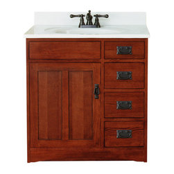 """Sunny Wood - Sunny Wood FR3021D Mission Oak Franciscan 30"""" Wood Vanity Cabinet from - 30"""" Wood Vanity Cabinet from the Franciscan Collection The Franciscan Collection from Sunny Wood features proven American styling, value, and practical function in a single collection. The inset panel doors and drawers are highlights of this design. Sunny Wood uses solid oak door and drawer front construction and complements the beauty of the natural wood grain with a warm oak finish. Plywood drawer sides, dual, side-mounted drawer slides, and concealed door hinges add to the value of the Franciscan collection. A wide variety of accent pieces allows almost endless configurations as well. Product Details:   Dimensions: 30""""W x 21""""D x 34""""H Constructed of Oak hardwoods and veneers 1 Door, 3 Drawer Design Ample interior storage Crated and shipped assembled Brass decorative hardware Franciscan vanities: 30"""" (this model), 36"""" (FR3621D), 48"""" (FR4821D)      Additional image is that of the 36"""" version of this vanity, but still provides reference for design characteristics and finish."""