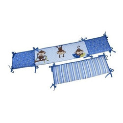 Little Bedding by NoJo 3 Little Monkey Boy Crib Bumper - No need to be afraid of your bouncing baby boy bonking his head on his crib when you have the Little Bedding by NoJo 3 Little Monkey Boy Crib Bumper. Decorated with three whimsical monkeys, this four-piece bumper is made of a polyester and cotton blend, and is designed to fit most standard cribs.About NoJoOffering fashionable, safe, and reliable products throughout the United States for the past 40 years, NoJo's goal is to offer fashion-forward infant and toddler bedding, blankets, and accessories that meet the demands of today's modern lifestyle. NoJo puts not only style into their products, but comfort and safety, too.