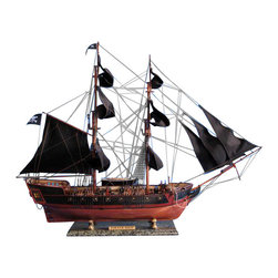 """Handcrafted Model Ships - Caribbean Pirate Ship 37"""" - Black Sails - Sold Fully Assembled Ready for Immediate Display -Not a Model Ship Kit"""
