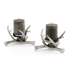 Go Home - Go Home Pair of Antler Pillar Holders - Looking for decorative home furnishing accessories to enhance your urban home decor? Tuscan Villa Antler Pillar Holders will be a perfect pick for you. Made from nickel-plated brass, these stylish candleholders feature an intricate design to complement your interiors. If you look forward to spending a quality time with your loved one, you can arrange and enjoy a candle light dinner; lit candles and place them in these beautiful candleholders to illuminate the dining area.