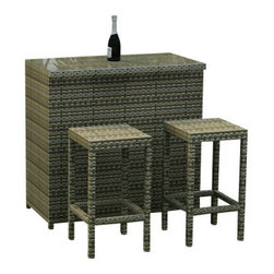 Forever Patio - Hampton 3 Piece Modern Outdoor Bar Set, Heather Wicker - The highly modern design of the Hampton Collection is now available as a stylish outdoor bar with the 3 Piece Hampton Bar Set by Forever Patio (FP-HAM-3BAR-HT). The set provides seating for 2 right at the bar, giving you and your guests a place to relax while enjoying or waiting for their drinks. This set features Heather wicker, which is made from High-Density Polyethylene (HDPE) for outdoor use. Every strand of this wicker is infused with its natural color and UV-inhibitors that prevent cracking, chipping and fading ordinarily caused by sunlight. Each piece features thick-gauged, powder-coated aluminum frames that make the set extremely durable and resistant to corrosion. The bar includes a beautiful glass top, providing an easy-to-clean surface that adds a touch of sophistication to the overall look of the set. Of course, no outdoor bar is complete without a place to store all of your drink necessities, which is why the Hampton Bar offers plenty of shelf space to suit your needs.