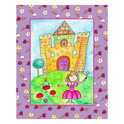 Oh How Cute Kids by Serena Bowman - Desiree's Front Yard, Ready To Hang Canvas Kid's Wall Decor, 24 X 30 - Part of my Fairy Tale Princess series. So far as I can remember we have Sleeping beauty, Cinderella, Alice in wonderland, Rapunzel, Princess and the Pea and probably a couple more that I am forgetting!  Each are sold separately but coordinates with everything in the series for an easy fun room decor!