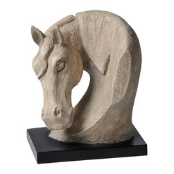 Ren-Wil - Ren-Wil STA240 Equus Statue in Natural stone finish by Kelly Stevenson - This hand molded Equus Statue features a rich natural stone finish set on a contrasting black mat base.