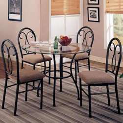 5 PC Black Metal Dining Room Set Glass Top Chairs Fabric Seat 120565 -