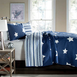 Lush Decor - Star Navy Two-Piece Twin Quilt Set - - Recreate celestial feel in your bedroom with this classic printed quilt. Star pattern on one side and matching colored stripes reverse with matching shams, this style is a star in itself. Made from 100% cotton, this set is soft to the hand and has wonderful quilting details  - Set Includes: 1 quilt, 1 sham  - Care Instructions: Machine wash cold, gentle cycle, only non chlorine bleach when needed, tumble dry low, steam if needed, do not iron   - Fill Content: 100% polyester Lush Decor - C21903P14-000