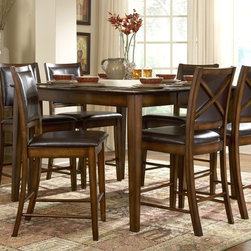 Homelegance - Verona 5-Pc Counter Height Dining Set (4-Piec - Choose Number of Chairs: 4-Piece Counter Height ChairsIncludes one table and four counter height chairs. Upholstered X-back chairs. Bi-cast vinyl chair upholstery in deep chocolate. Made from oak veneer with walnut inlay. Distressed amber finish. Table:. Minimum: 54 in. L x 36 in. W x 36 in. H. Maximum: 54 in. L x 54 in. W x 36 in. H. Chair: 19 in. W x 22.5 in. D x 42.5 in. HA stunning combination of color and design gives the Verona dining collection a classic look into contemporary furniture.