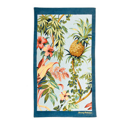 Frontgate - Tommy Bahama Tortuga Beach Towel - 100% ring-spun cotton woven to 450 gsm. Preshrunk. Fiber reactive dyes ensure that the design will stand up to numerous washings. Machine wash cold; tumble dry low. A Frontgate exclusive. Whether you're bronzing on white sand beaches, or drying off after a dip in the waves, the durable and soft Tommy Bahama Beach Towels are the perfect paradise essential. The plush and absorbent towels are adorned with vibrant tropical designs in bold, bright colors. Loomed from the highest-quality cotton, the generously sized towels feature a silky cut pile which reverses to soft, luxurious terry.  .  .  .  .  .