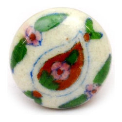 "Knobco - Tear Drops, White, blue, brown, pink and green floral - White, blue, brown, pink and green floral hand painted ceramic knob from Jaipur, India. Unique, hand painted cabinet knobs for your kitchen cabinets. 1.5"" in diameter. Includes screws for installation."