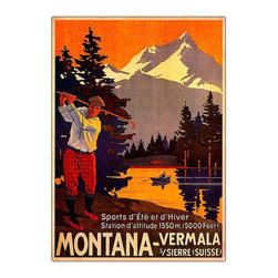 Trademark Global - Montana Framed Canvas Wall Art - Gallery wrapped Giclee on canvas. Ready to hang. Traditional style. Subject: Vintage. Format: Vertical. Size: Medium. Canvas material. 18 in. W x 24 in. H (4 lbs.)Giclee is an advanced printmaking process for creating high quality fine art reproductions. The attainable excellence that Giclee printmaking affords makes the reproduction virtually indistinguishable from the original artwork. The result is wide acceptance of Giclees by galleries, museums and private collectors.