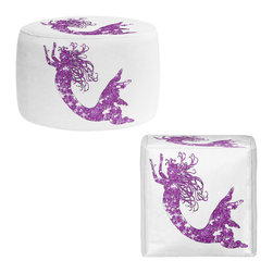 DiaNoche Designs - Ottoman Foot Stool by Susie Kunzelman - Mermaid Purple - Lightweight, artistic, bean bag style Ottomans. You now have a unique place to rest your legs or tush after a long day, on this firm, artistic furtniture!  Artist print on all sides. Dye Sublimation printing adheres the ink to the material for long life and durability.  Machine Washable on cold.  Product may vary slightly from image.