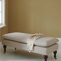 Sterling Bench - Garnet Hill - This elegant linen bench is a smart way to add extra seating to your living room. It also serves as a sophisticated accent piece at the foot of your bed.