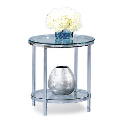 Bassett Mirror - Patinoire Round End Table - Chrome plated modular cocktail with nesting castered table. Polished bull-nose glass tops. Measures: 22 in. W x 22 in. D x 25 in. H. Part of the Patinoire Collection.